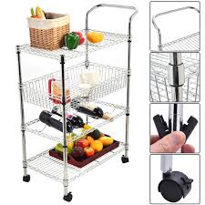 4 tiers steel kitchen trolley cart with wine shelf 176 lbs