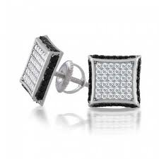 mens earrings studs 925 silver dual color micropave cz square mens back studs
