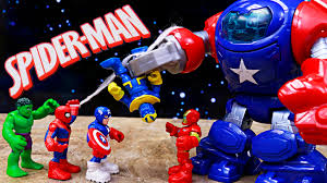 captain america space command armor with spiderman and ironman