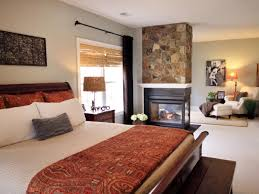 mid century modern bedroom interiors with glass fireplace and an
