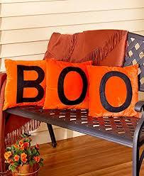 amazon com set of 3 halloween pillows orange boo home u0026 kitchen