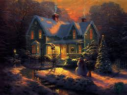 evening christmas cottage christmas wallpaper cool images