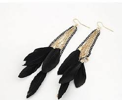 feather earrings online india buy ashiana delicate black and gold feather tassel earring online