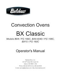 belshaw brothers bx classic operator s manual