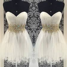 cheap ball gown homecoming dresses sweetheart gold beads white