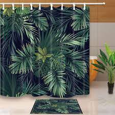 Waterproof Fabric Shower Curtains Green Palm Leaves Bathroom Decor Shower Curtain Waterproof Fabric