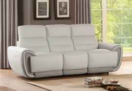 brody modern ivory real leather power reclining sofa living room