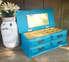 amazon com bright teal blue shabby chic jewelry box vintage