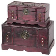 Home Decor Boxes Antique Wooden Treasure Chest Box Decorative Trunk Set Of Two Home
