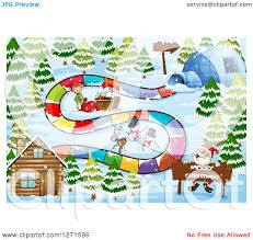 clipart of a christmas board game design with santa a cabin