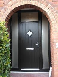 exterior design cheap black composite door with 2 frosted glass