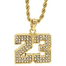 necklace chains hip hop images Mens 14k gold plated iced out 23 basketball pendant 24 quot rope jpg
