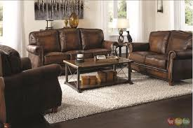 Leather Brown Sofas Traditional Leather Sofa Set Brown Bycast Leather Chenille
