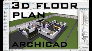 how to create 3d floor plan in archicad youtube