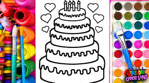 learn coloring for kids and color five layer birthday cake