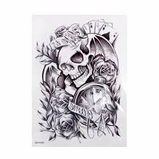 black ink pirate skull with pocket watch and roses tattoo design