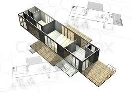architecture plans housing architecture plans with 3d building structure stock