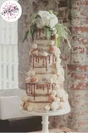 semi copper drip wedding cake with vanilla and coffee