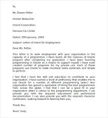 Resume Letter Of Intent Download Letter Of Intent For Employment Template