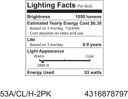 ge lighting 78797 energy efficient crystal clear 53 watt 75 watt