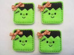 4 felt halloween frankie applique embellishments style s lime with