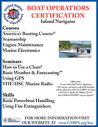 Radio Training Courses Boat Operators Certification Great South Bay Power Squadron