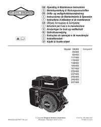 briggs u0026 stratton 245400 user manual 76 pages also for 138400