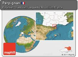 map of perpignan region free satellite location map of perpignan highlighted country