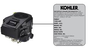 kohler serial number significance table kohler engine model number locator how to find kohler engine model