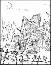 click to see printable version of haunted house coloring page