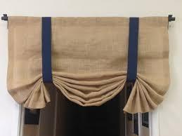 Blue Burlap Curtains Burlap Tie Up Valance Nautical Curtains Burlap Curtains