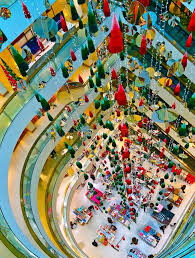 christmas decorations shopping center editorial photo image
