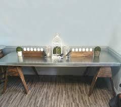 industrial sawhorse table we rent atlanta