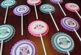 purple owl baby shower decorations cupcake toppers girl owls in pink purple teal baby shower
