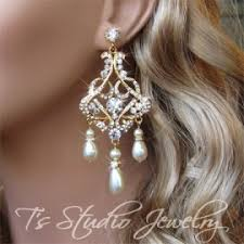 Chandelier Earrings Bridal Rose Gold Crystal Rhinestone And Pearl Bridal Chandelier Earrings