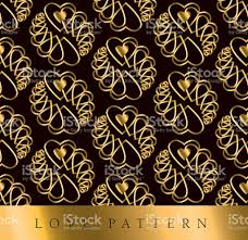 Art Deco Style Gold Vector Pattern With Heart In Art Deco Style Stock Vector Art