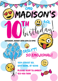 birthday invitations emoji birthday invitations icustomlabel