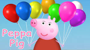 pig balloons learn colors with peppa pig balloons color pit for