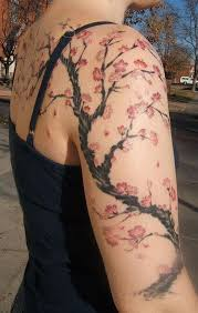 color ink cherry blossom tree on arm and back