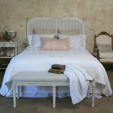 Reproduction Bedroom Furniture by Antique Reproduction King Blanka Cane Headboard In Antique White