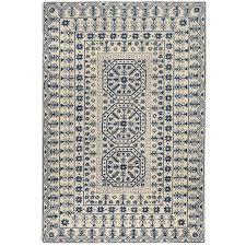 Overstock Com Pets Hand Tufted Palma Ivory Navy Oriental Pattern Wool Rug 8 U0027 X 11