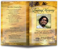 funeral program covers waterscape theme island letter single fold template