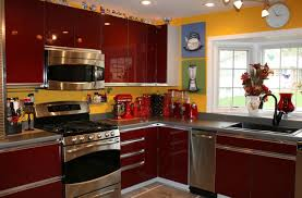 yellow and red country kitchen with yellow and teal and red
