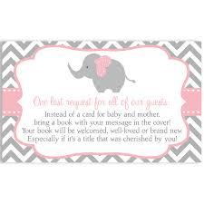 Baby Shower Invitations Bring A Book Instead Of Card Chevron Elephant Pink Baby Shower Invitation U2013 The Invite Lady