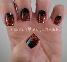peace love lacquer red glitter gradient nail art