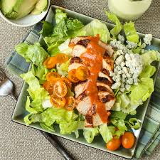 buffalo chicken salad with avocado ranch dressing food all types