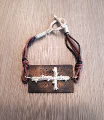 cross cord bracelet images Handmade black brown cotton cord bracelet with silver cross jpg
