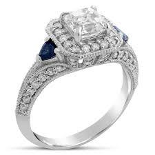 sapphire accent engagement rings asscher cut sapphires antique vintage style engagement