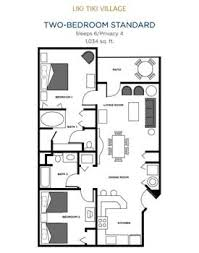 2 Bedroom Condo Floor Plan Liki Tiki Village Orlando Florida Two Bedroom Condo