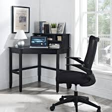 Black Corner Computer Desks For Home Manhattan Open Computer Desk With Adjustable Shelf Black Hayneedle